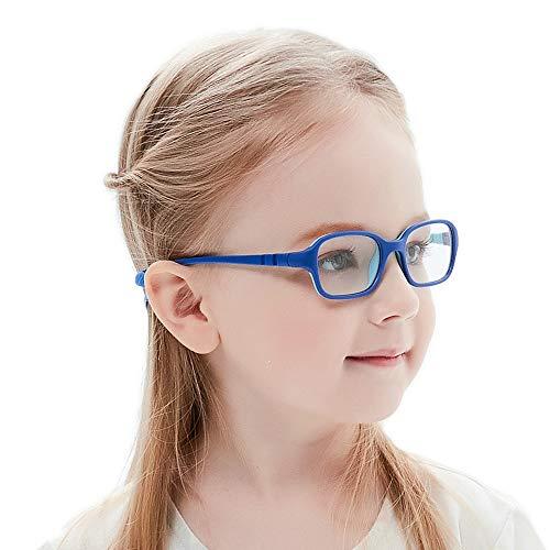 Kinder Kids Brille Teenager biegsam schick Gestell Rahmen Fassung klar, eckig Gläser für Mädchen Jungen (Alter2-5 Jahre) (Wk11c7 Blue) (Kid Kostüme Cool)