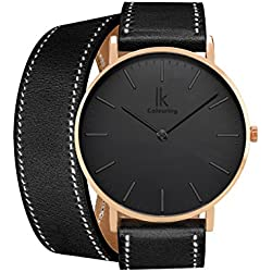 Alienwork IK Wrap2 Quartz Watch elegant Wristwatch stylish Double Wrap Leather black black 98469CL-07