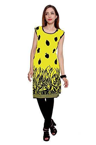 Kurti Studio Festive Yellow Black Unstitched Cotton Kurti Dress Material