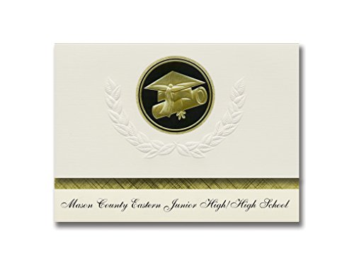 Signature Announcements Mason County Eastern Junior High/High School (Custer, MI) Graduation Announcements Presidential, Basic Pack 25 mit goldfarbener und schwarzer Folienversiegelung