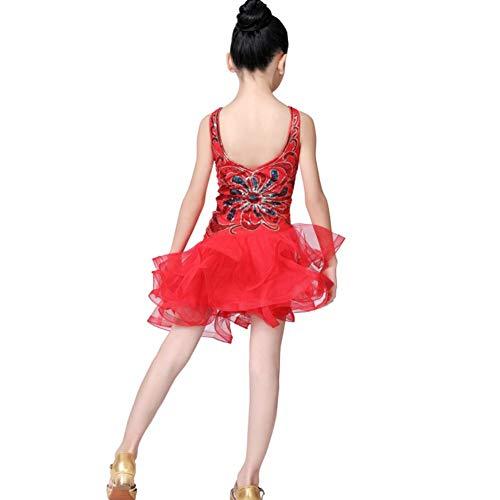 Maritown Mädchen Latin Dance Kleid, Blumenmuster Tutu Kleid Kinder Kinder Pailletten Latin Tango Ballsaal Salsa Dance Kleid Fransen Quaste Rock Latin Tanzbekleidung (Ballsaal Tanz Kostüme Billig)