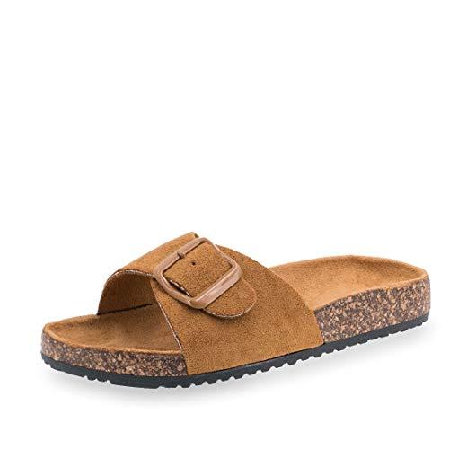 Damen Sommer Pantoletten Sandalen mit Schnalle in hochwertiger Wildlederoptik Camel 36 - Camel Schnalle