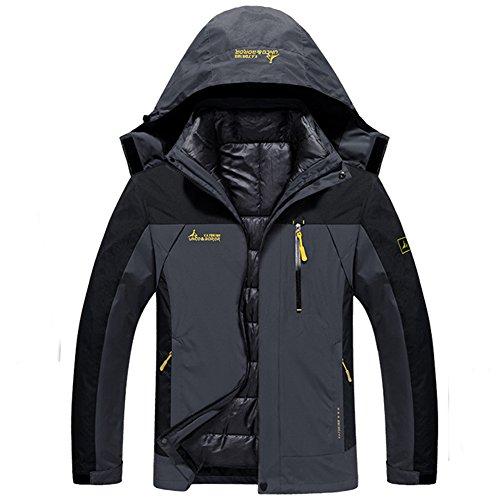 3 in 1 Jacke Herren Funktionsjacke Winter Outdoor Doppeljacke Wasserdicht Atmungsaktiv Wanderjacke Softshelljacke