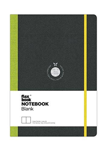 FlexBook Taccuino di note 192pagine a righe pagine bianche 17 x 24 cm Couverture Noire/Dos Vert Anis