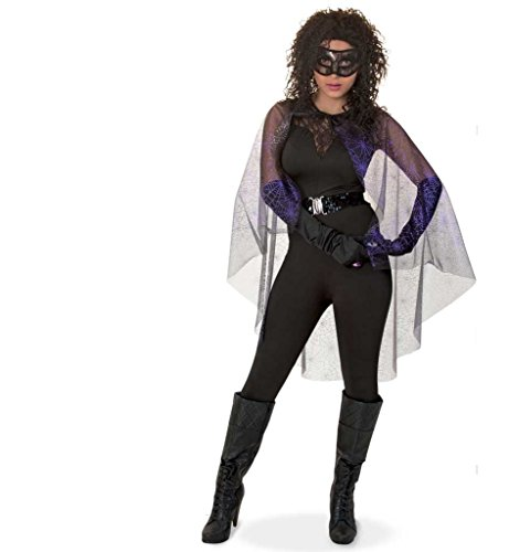 üm Spiderlady Halloween Spinnenumhang Überwurf Halloween Fasching Einheitsgröße ()