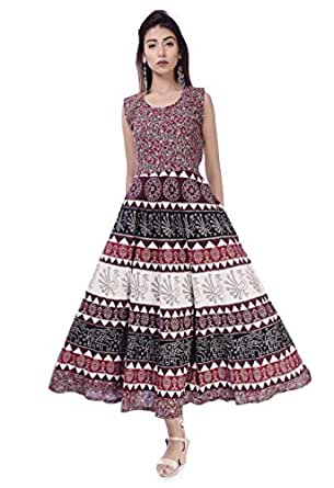 Monique Brand Present Women's 100% Cotton Jaipuri Print Long Midi Maxi Dress
