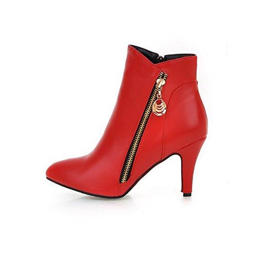 VogueZone009 Damen Schließen Zehe Niedrig-Spitze Blend-Materialien Hoher Absatz Stiefel Rot