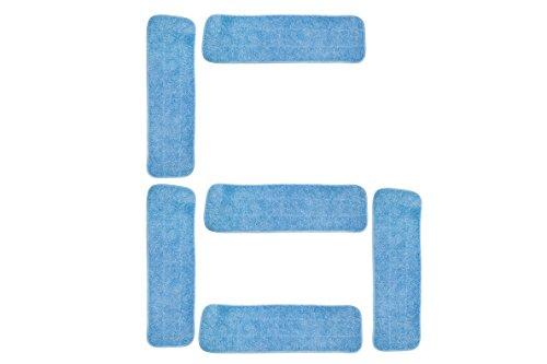 LTWHOME 42-45cm Kommerzielle Mop Füllen Pads mit Microfaser in Blau geeignet für die Reinigung mit nassen oder trockenen Böden (Packung mit 6) -