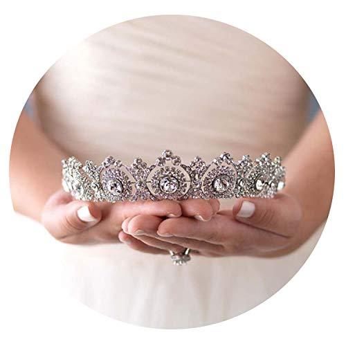 Davids Bridal Tiara (Kristall Strass Braut Diadem Kopfstück Blume Noiva Tiaras und Kronen Hochzeit Zubehör Brauthaarschmuck JL, Roségold)