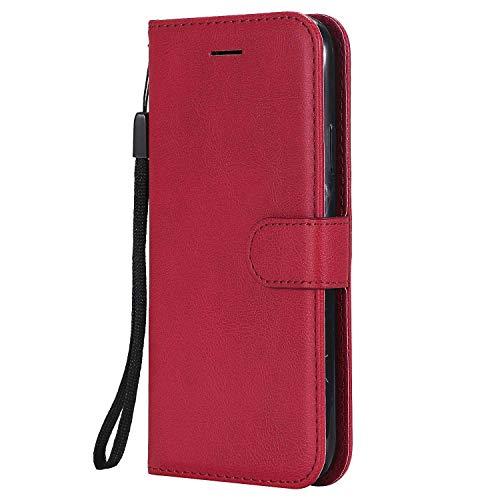 DENDICO iPhone XR Hülle, Leder Wallet Tasche Handyhülle mit Standfunktion und Kartenfach, Magnetverschluss Flip Etui TPU Schutzhülle für Apple iPhone XR - Rot