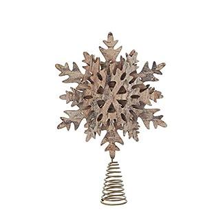 Creative-Co-op-Weihnachtsbaumspitze-aus-Papier-Schneeflocken-Design-Birkenrinde-Goldfarbene-Glitzer-Braun