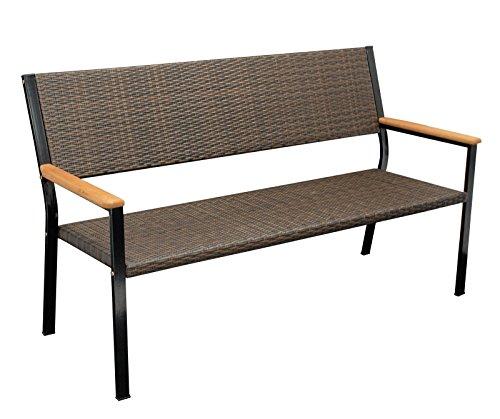 Gartenbank CLIFTON 3-sitzer, Metallgestell + Geflecht braun, Armlehnen Eukalyptus