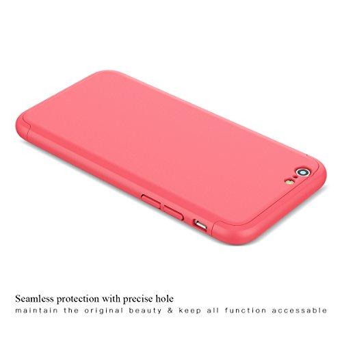 CE-Link Cover per Apple iPhone 6 6S 360 Gradi Full Body Protezione, Custodia iPhone 6 Silicone Rigida Snap On Struttura 3 in 1 Antishock e Antiurto, iPhone 6S Case Antigraffio Molto Elegante - Nero Rosso
