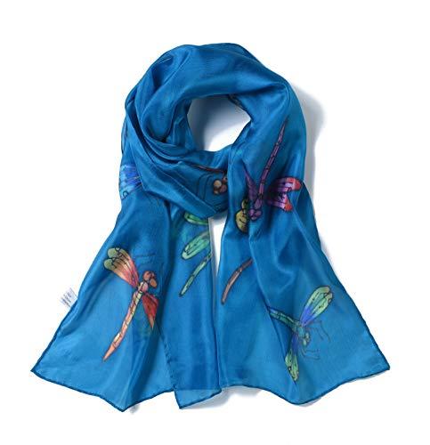 Invisible World - Damen Seidentuch, handbemalt, Libellen - langes Halstuch, Kopftuch und Haartuch - Azurblau -