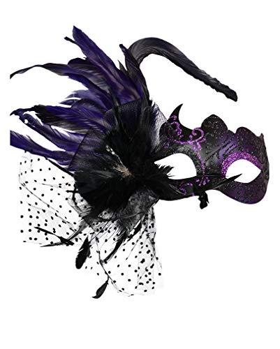 Violette venezianische Maske mit Federn