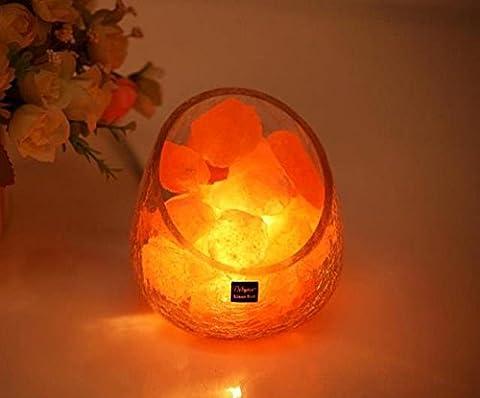 BBC Kristallsalz lampe Himalaya im Europäischen Stil dekorative kleine Tischlampe kreative Mode Schlafzimmer eis Glas bett Nacht Licht, natürliche Art 2 3 Pfund, Schalter des (Französisch Stil Bett)