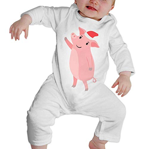 Monicago Neugeborenes Baby Jungen Mädchen Babybody Langarm, Baby Boys Girls Bodysuit Year Pink Pig in Santa Hat Jumpsuit Onesies Long Sleeve Unisex (Outfit In Girl Santa Baby)