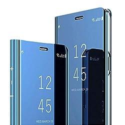 Hülle für OnePlus 7 Pro Hülle Mirror Flip Schutzhülle Ganzer Körperschutz Spiegel Handyhülle Ultradünn PU Handy Schutz Löschen Clear View Cover für OnePlus 7 Pro (Blau)