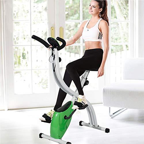 DlandHome Faltbares X-Bike Magnetisches Steuersystem klappbarer Hometrainer mit LCD Monitor, Heimtrainer klappbar für zuhause, Sicherheit geprüft, Belastbarkeit bis 150Kg, Grün & Weiß