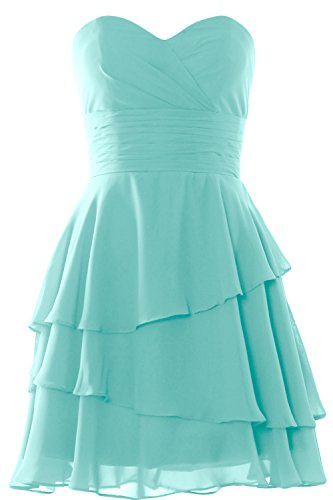 MACloth Women Strapless Tiered Cocktail Bridesmaid Dress Wedding Formal Gown Turquoise