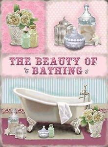 Il Bellezza di fare il bagno. Bagno, soap, salts, fiori, Bagno tempo. Per bagno, casa o negozio. Metallo/Targa Da Parete In Acciaio - 15 x 20 cm