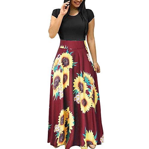 Binggong Kleid Damen RundhalsSommerkleider Sonnenblume Druck MaxiKleid Casual Lange Kleider Elegante Tunikakleid Strandkleid
