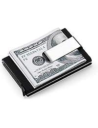 Xcellent Global Funda para Tarjeta de Visita Extraible Porta Tarjetas de Crédito con Clip para el Dinero con Bloqueo de Aluminio, Negro, HG201
