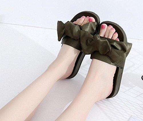 sandali piani femminile parola Waichuan spiaggia femminile pantofole fiocco di seta palazzo in stile Rihanna Green