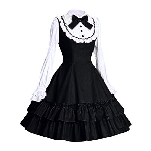 Mini Lace Up Kostüm - Lolita Kleid Damen Gothic Maid Kostüm Piebo Frauen Langarm Mini-Kleid Lace Up Bowknot Rüschen Mittelalter Kleider Oktoberfest Halloween Weihnachten Party Karneval Fasching Anime Cosplay Costume