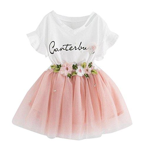 Niña vestido,Sonnena impresión tops blanco de manga corta camiseta + lindo rosa tutú falda de gasa para chica bebé estilo elegante y casual (5 años, ROSA)