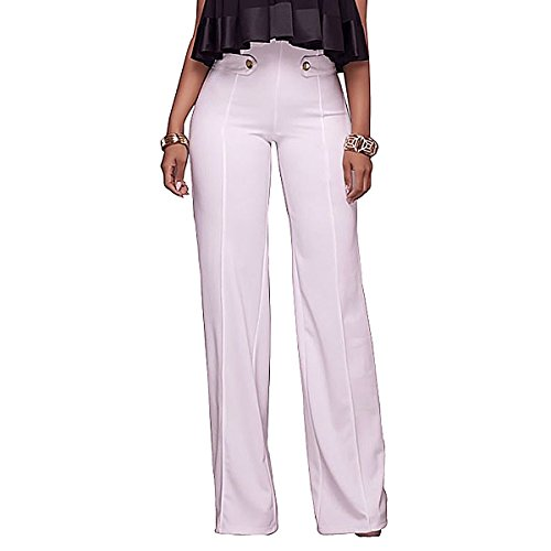 Sg Women High Waisted Wide Leg Long Pants Workwear Trousers with Buttons