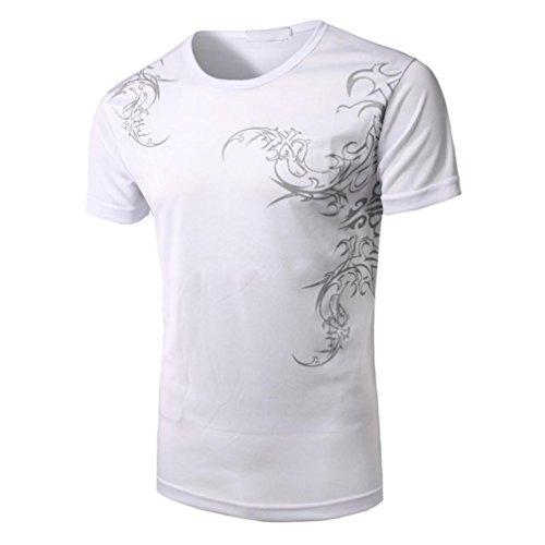 Styledresser Shirt Herren, Shirts Kurzarm Herren Shirt Aufdruck Herren Sportiva- Bekleidung Uomo-Sportiva Herren Shirt Herren Baumwolle Basic-Felpa XL Bianco-A (Zip Top Haut)