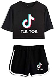 TIK TOK girl nine points top + shorts suit, sports yoga clothes, T-shirt running sportswear and summer short-s