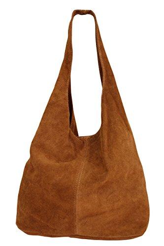 Damen Ledertasche Shopper Wildleder Handtasche Schultertasche Beuteltasche WL818 Cognacbraun