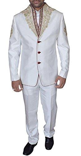 INMONARCH da uomo Designer Crema Poliestere Jodhpuri Suit jo324 Cream 46 Corto