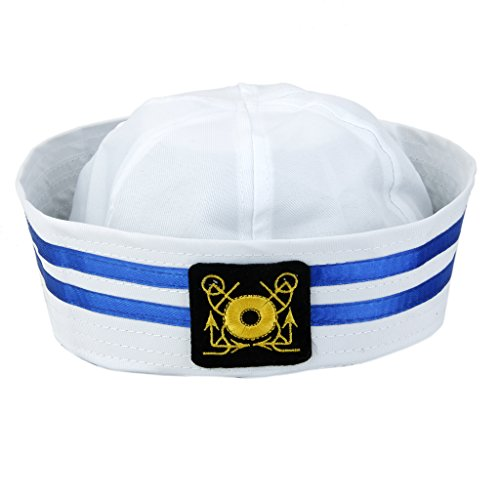 Hellery Weiß Yacht Sailors Hut, Kapitän Skipper Mütze, Sea Cap Navy Dress Up Zubehör - Farbe 1
