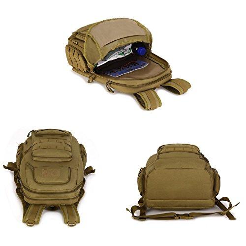 Huntvp Rucksack Mini Schultasche Erwachsene Taktischer Trekkingrucksacke Wanderrucksäcke Reisetaschen Multifunktionale Kampfrucksack für Outdoor Sports Sportrucksack Schulrucksäcke Schwarz Fahrradruck Dschungel-Tarnung
