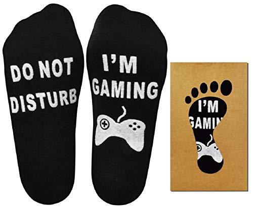 Tuopuda 'No molestar' Gran regalo para gamers Navidad Carta del día de San Valentín Imprimir Divertido Novedad Calcetines cómodos y suaves para el tobillo Calcetines Divertidos (Negro 2 pares)