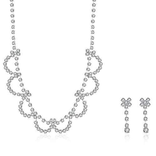 Thumby Weibliche Romantische Kristallpflanze Halskette Ohrringe Set Hochzeit Serie Floral 2 Stück Set Halskette + Ohrringe, Silber -