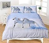 Nightzone 3D Tier Print Betten Sets Pferd Polycotton Quilt Bettbezug Set Contempo Design, Baumwollmischung, weiß/blau, Einzelbett