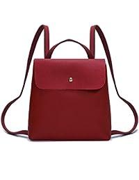 Hiroo Borsa a Zainetto Donne Ragazza Colore puro Borsa di pelle Mini Bag  Cartella Zaino Borsa a tracolla Zaini per la… 5465ded16e0