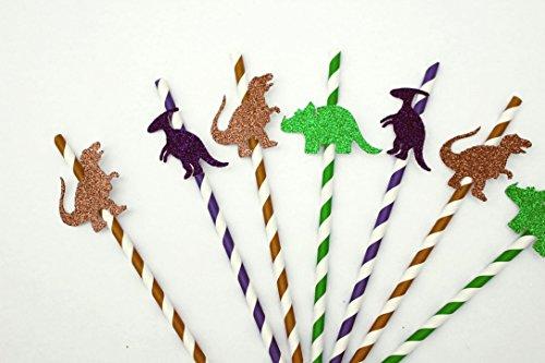 LissieLou Dinosaurier Party Trinkhalme, Green, Brown, Purple, Straw: 19cm (7.6in); Dinosaur:Approx. 6.3cm(2.5in)