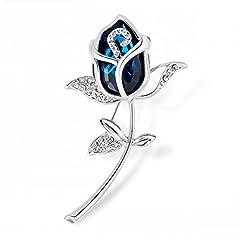 Idea Regalo - Merdia, spilla con cristalli artificiali blu, elegante spilla da donna con rosa