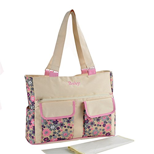 Kangming Großer Kapazität Baby Windel Wickeltasche Mama Top Griff Tasche Flower Travel Tote Handtasche beige