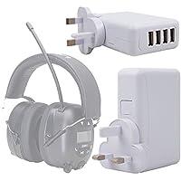 DURAGADGET Cargador De Viaje para Auriculares Ion Audio Tough Sounds - con 4 Puertos USB Y