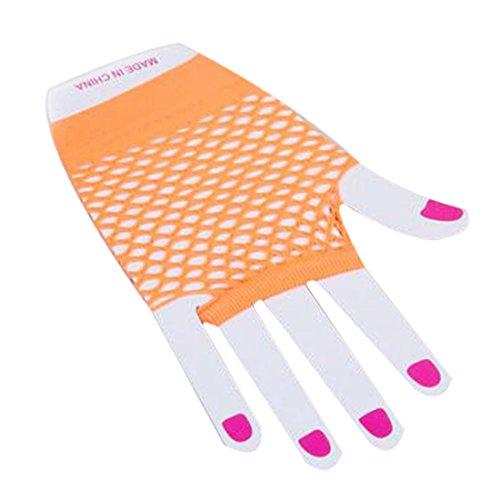 Frauen Fischnetz kurze Spitze Soft Handschuhe, Orange (Glam Punk Kostüm)