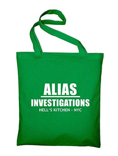 Alias Investigations Logo Jutebeutel, Beutel, Stoffbeutel, Baumwolltasche Grün