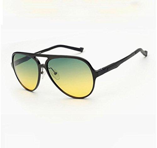 Z&HA Men's Driving Night Vision Sonnenbrille, Tag Und Nacht Dual-Use HD Polarizer Eyewear, Mit Zweifarbig Gelb-Grünen Gläsern, Frosch Spiegel, Pilot Brille,Black