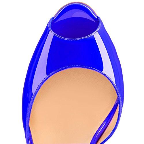 EDEFS Damen Knöchelriemchen Peep-toe Sandalen High-heel Schnalle Mary Janes Halbschuhe Darkblau