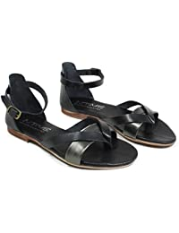 In Time Sandali Bassi Infradito Flat Donna Vera Pelle Nero Canna di Fucile  0414 Made in 70dd5a7b500